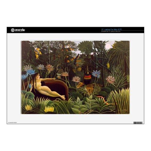 Henri Rousseau la selva del sueño florece la pintu Portátil Calcomanías