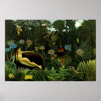 Henri Rousseau la selva del sueño florece la pintu Póster