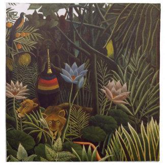 Henri Rousseau la selva del sueño florece la pintu Servilleta