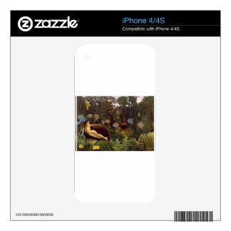 Henri Rousseau la selva del sueño florece la pintu Calcomanía Para El iPhone 4