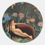 Henri Rousseau la selva del sueño florece Etiqueta Redonda