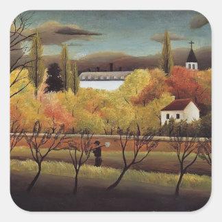 Henri Rousseau- Landscape with Farmer Square Sticker
