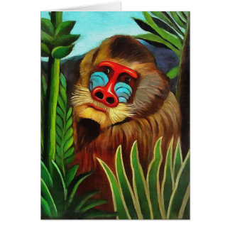 Henri Rousseau Mandrill In The Jungle Vintage Art Card