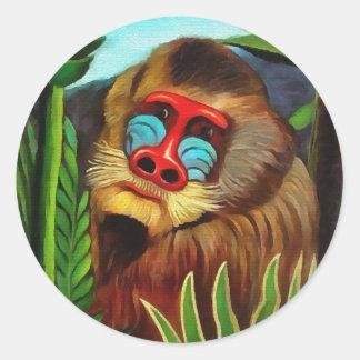 Henri Rousseau Mandrill In The Jungle Vintage Art Classic Round Sticker