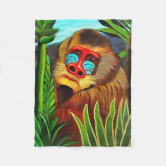 Henri Rousseau Mandrill In The Jungle Vintage Art Fleece Blanket