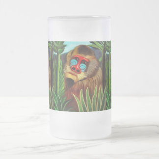 Henri Rousseau Mandrill In The Jungle Vintage Art Frosted Glass Beer Mug