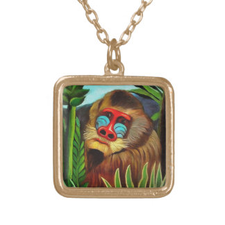 Henri Rousseau Mandrill In The Jungle Vintage Art Gold Plated Necklace