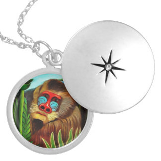 Henri Rousseau Mandrill In The Jungle Vintage Art Locket Necklace
