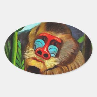 Henri Rousseau Mandrill In The Jungle Vintage Art Oval Sticker