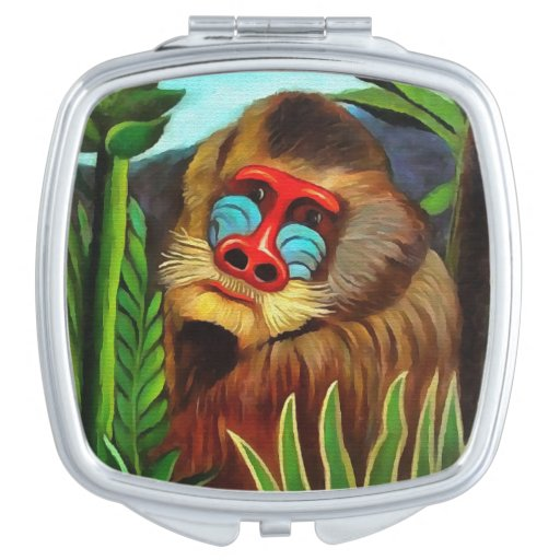 Henri Rousseau Mandrill In The Jungle Vintage Art Makeup Mirror