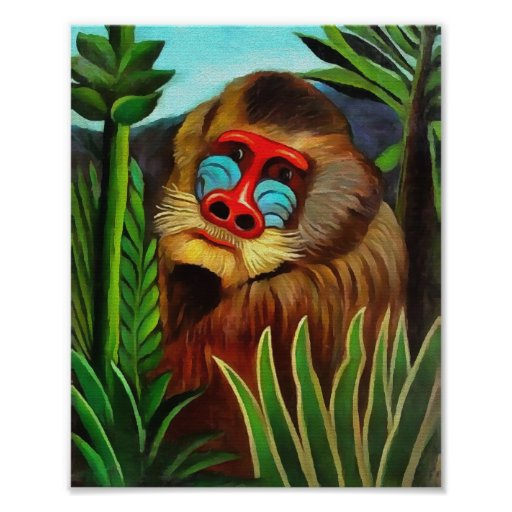 Henri Rousseau Mandrill In The Jungle Vintage Art Poster