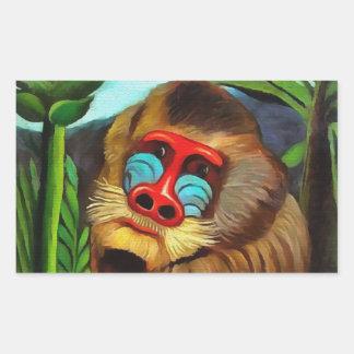 Henri Rousseau Mandrill In The Jungle Vintage Art Rectangular Sticker