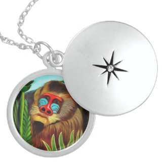 Henri Rousseau Mandrill In The Jungle Vintage Art Round Locket Necklace