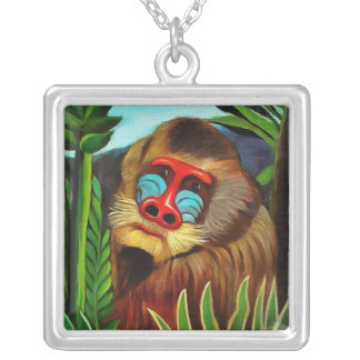 Henri Rousseau Mandrill In The Jungle Vintage Art Silver Plated Necklace