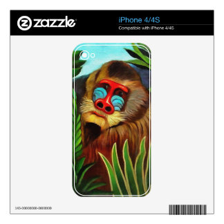 Henri Rousseau Mandrill In The Jungle Vintage Art Skins For The iPhone 4