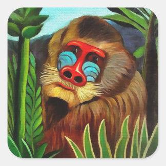 Henri Rousseau Mandrill In The Jungle Vintage Art Square Sticker