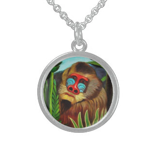 Henri Rousseau Mandrill In The Jungle Vintage Art Sterling Silver Necklace