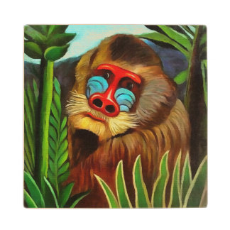 Henri Rousseau Mandrill In The Jungle Vintage Art Wooden Coaster
