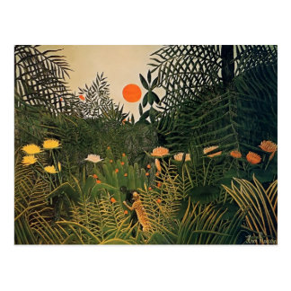 Henri Rousseau- Negro Attacked by a Jaguar Postcard