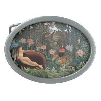 Henri Rousseau The Dream Jungle Flowers Naive Art Oval Belt Buckle