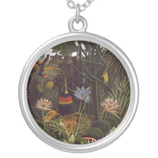 Henri Rousseau The Dream Jungle Flowers Painting Personalized Necklace