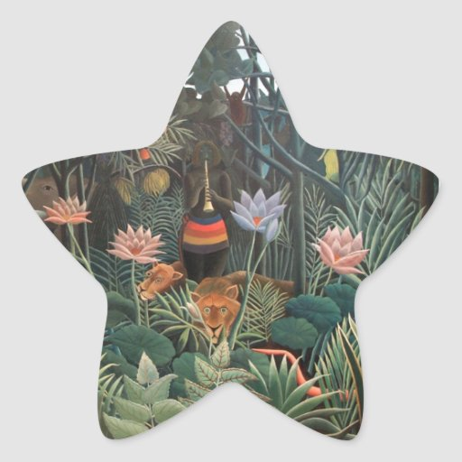 Henri Rousseau The Dream Jungle Flowers Painting Star Stickers