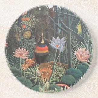 Henri Rousseau The Dream Jungle Flowers Surrealism Drink Coaster