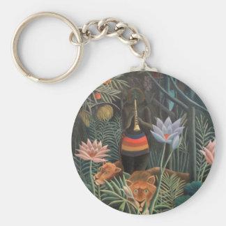 Henri Rousseau The Dream Jungle Flowers Surrealism Keychain
