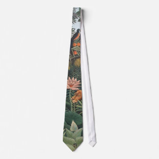 Henri Rousseau The Dream Jungle Flowers Surrealism Neck Tie