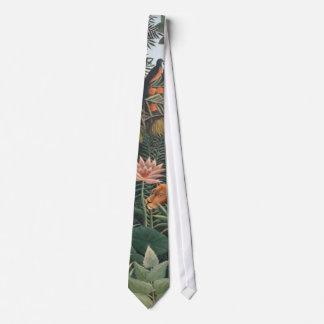 Henri Rousseau The Dream Jungle Flowers Surrealism Neck Tie