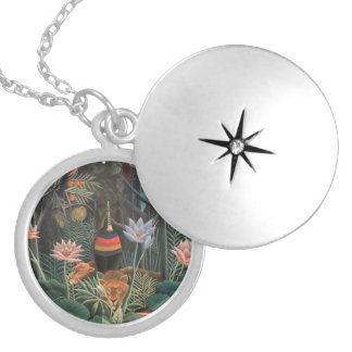 Henri Rousseau The Dream Jungle Flowers Surrealism Silver Plated Necklace