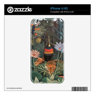 Henri Rousseau The Dream Jungle Flowers Surrealism Skin For The iPhone 4