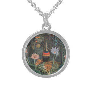 Henri Rousseau The Dream Jungle Flowers Surrealism Sterling Silver Necklace