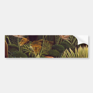 Henri Rousseau The Dream Jungle Lions Painting Bumper Stickers
