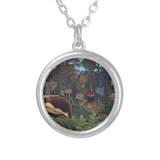 Henri Rousseau The Dream - Jungle Woman w Animals Silver Plated Necklace
