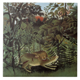 Henri Rousseau - The Hungry Lion Attacking Ceramic Tile
