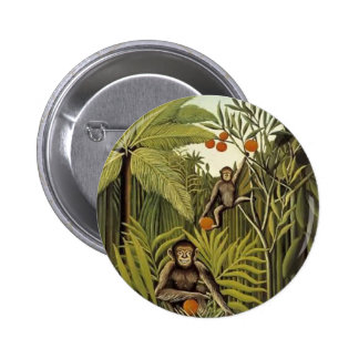 Henri Rousseau- The Monkeys in the Jungle 2 Inch Round Button