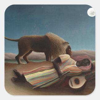 Henri Rousseau The Sleeping Gypsy Lion Moon Night Square Sticker