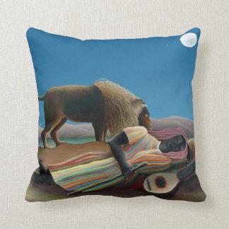 Henri Rousseau - The Sleeping Gypsy Throw Pillows