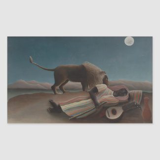 Henri Rousseau - The Sleeping Gypsy Rectangular Stickers