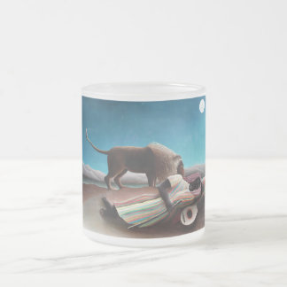 Henri Rousseau The Sleeping Gypsy Vintage Frosted Glass Coffee Mug