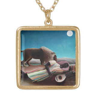 Henri Rousseau The Sleeping Gypsy Vintage Gold Plated Necklace