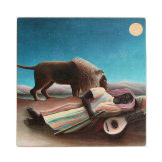 Henri Rousseau The Sleeping Gypsy Vintage Wooden Coaster