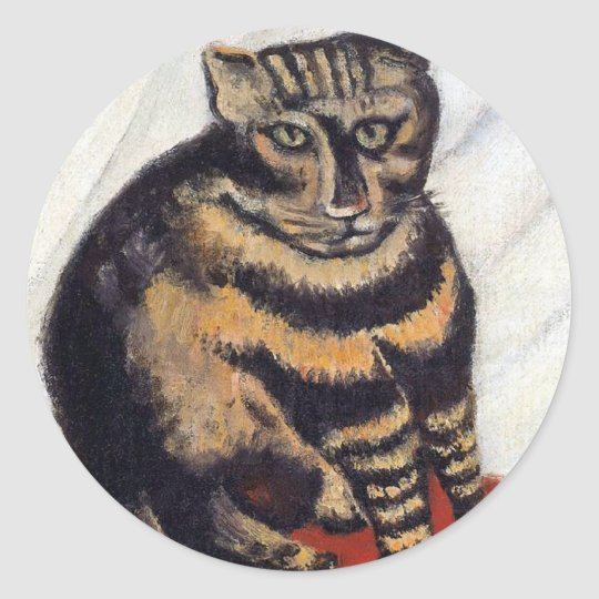 Henri Rousseau - The Tiger Cat ( Le Chat Tigre ) Classic Round Sticker