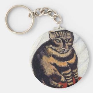 Henri Rousseau - The Tiger Cat ( Le Chat Tigre ) Keychain