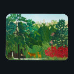 "Henri Rousseau The Waterfall Magnet<br><div class=""desc"">Henri Rousseau The Waterfall magnet. Oil painting on canvas from 1910. One of Henri Rousseau's charming jungle paintings, The Waterfall features two deer grazing in a tropical forest next to a small stream emanating from a waterfall. Two natives stand nearby. Huts can be seen in the distance, and the tropical...</div>"