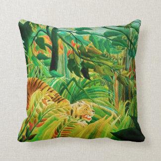 Henri Rousseau Tiger in a Tropical Storm Pillow