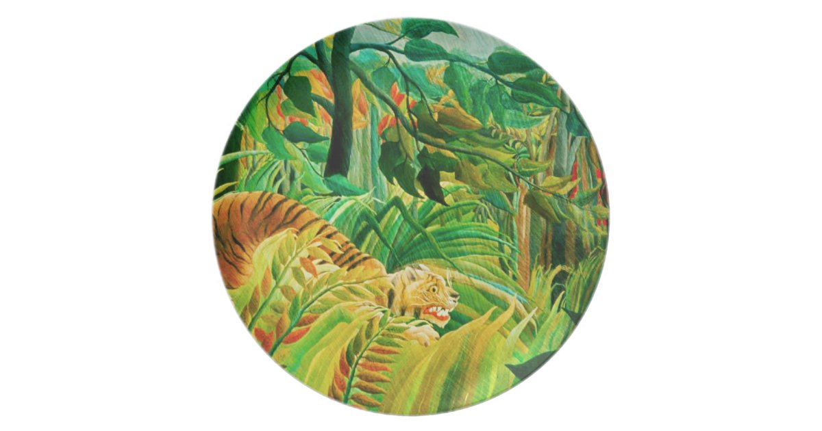 Henri Rousseau Tiger in a Tropical Storm Plate | Zazzle