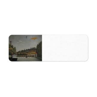 Henri Rousseau- View of the Bridge at Sevres&Hills Return Address Label