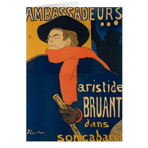 Henri Toulouse Lautrec - Aristide Bruant Greeting Card